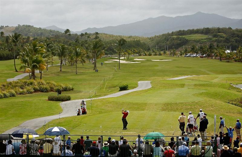 RIO GRANDE, PUERTO RICO - MARCH 15:  Kent Jones hits his tee shot on the 1st hole during the final round of the 2009 Puerto Rico Open presented by Banco Popular at the Trump International Golf Club March 15, 2009 in Rio Grande, Puerto Rico.  (Photo by Mike Ehrmann/Getty Images)