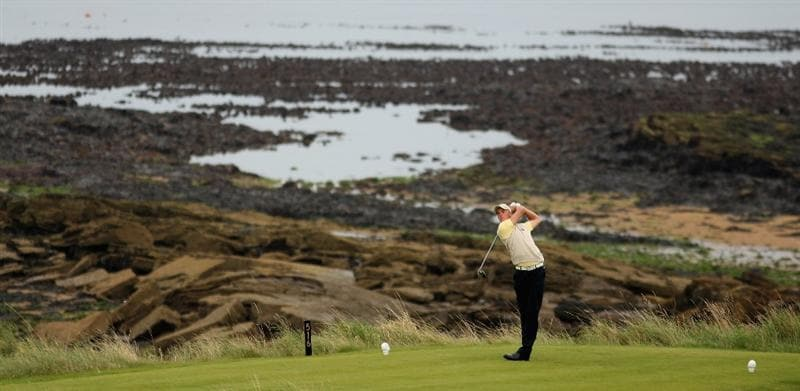 ST. ANDREWS, UNITED KINGDOM - AUGUST 30:  Stephan Gross of the Continent of Europe tees off on the third during the foursomes matches of The St Andrews Trophy 2008 between Great Britain & Ireland and the Continent of Europe, held at Kingsbarns Golf Club, on August 29, 2008. in Fife, Scotland.  (Photo by Warren Little/Getty Images)