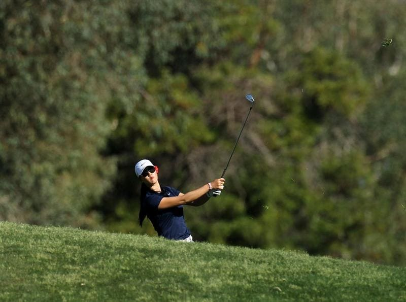 RANCHO MIRAGE, CA - APRIL 01:  Michelle Wie hits her second shot on the second hole during the second round of the Kraft Nabisco Championship at Mission Hills Country Club on April 1, 2011 in Rancho Mirage, California.  (Photo by Stephen Dunn/Getty Images)