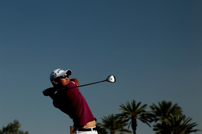 RANCHO MIRAGE, CA - APRIL 03:  Yani Tseng of Taiwan plays her tee shot at the 16th hole during the third round of the 2010 Kraft Nabisco Championship, on the Dinah Shore Course at The Mission Hills Country Club, on April 3, 2010 in Rancho Mirage, California.  (Photo by David Cannon/Getty Images)