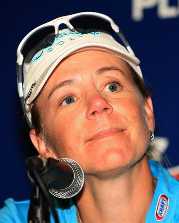 WEST PALM BEACH, FL - NOVEMBER 21:  Annika Sorenstam of Sweden speaks with the media after she completed her last official LPGA event during the second round of the ADT Championship at the Trump International Golf Club on November 21, 2008 in West Palm Beach, Florida.  (Photo by Scott Halleran/Getty Images)
