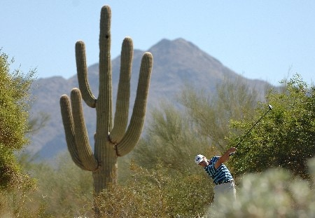 SCOTTSDALE, AZ - OCTOBER 20:  Mark Hensby tees off the 2nd hole during the third round of the Fry's Electronics Open on October 20, 2007 at the Grayhawk Golf Club in Scottsdale, Arizona  (Photo by Marc Feldman/Getty Images)