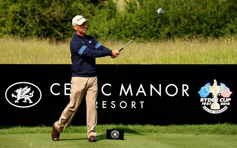 NEWPORT, WALES - JUNE 03:  US Ryder Cup Captain Corey Pavin in action during the pro-am for the Celtic Manor Wales Open on the 2010 Course at The Celtic Manor Resort on June 3, 2009 in Newport, Wales.  (Photo by Richard Heathcote/Getty Images)