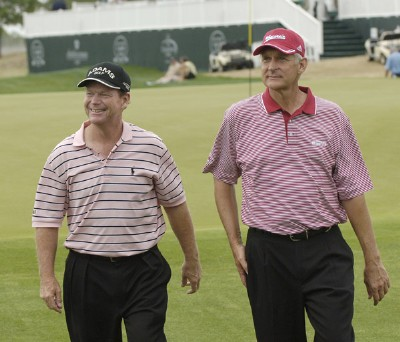 Winners of the Raphael Division, Tom Watson and Andy North finish play during the Liberty Mutual Legends of Golf at Westin Savannah Harbor Golf Resort & Spa in Savannah, Georgia, on April 22, 2006.Photo by Steve Levin/WireImage.com