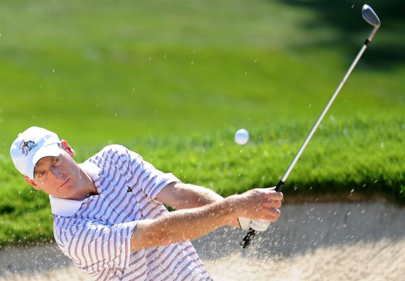 LOUISVILLE, KY - SEPTEMBER 18:  Jim Furyk of the USA team hits a bunker shot during a practice round prior to the 2008 Ryder Cup at Valhalla Golf Club on September 18, 2008 in Louisville, Kentucky.  (Photo by Harry How/Getty Images)