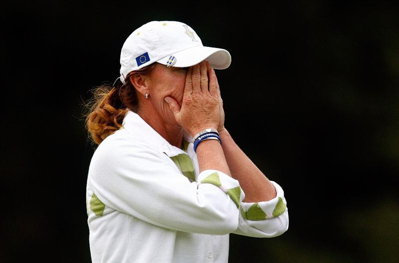SUGAR GROVE, IL - AUGUST 22:  Helen Alfredsson of the European Team reacts to a missed putt on the 14th green during the saturday afternoon foursomes matches at the 2009 Solheim Cup at Rich Harvest Farms on August 22, 2009 in Sugar Grove, Illinois.  (Photo by Scott Halleran/Getty Images)