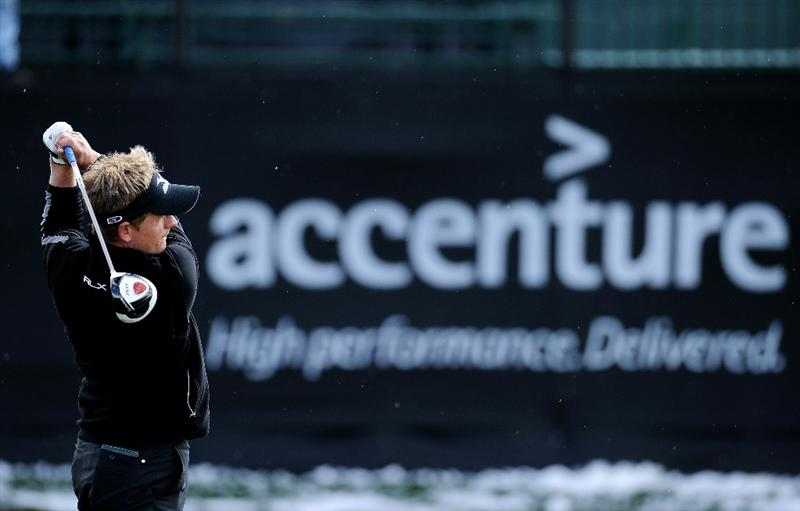 MARANA, AZ - FEBRUARY 27:  Luke Donald of England warms up on the driving range prior to the start of the final round of the Accenture Match Play Championship at the Ritz-Carlton Golf Club on February 27, 2011 in Marana, Arizona.  (Photo by Stuart Franklin/Getty Images)