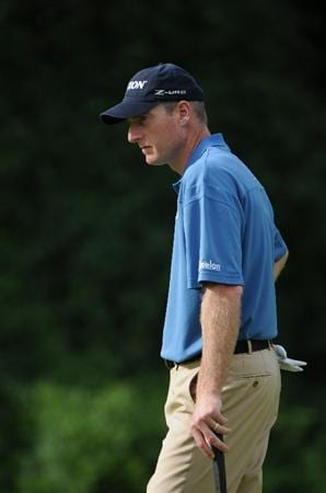 ST. LOUIS - SEPTEMBER 06:  Jim Furyk watches his opponents putt on the 9th green during the second round of the BMW Championship held at Bellerive Country Club on September 6, 2008 in St. Louis, Missouri. (Photo by Marc Feldman/Getty Images)