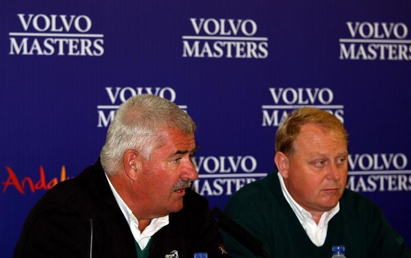 SOTOGRANDE, SPAIN - OCTOBER 31:  John Paramor, Chief Referee and David Garland, Tournament Director, talk to the media after play was suspended on the second day of the Volvo Masters at Valderrama Golf Club on October 31, 2008 in Sotogrande, Spain.  (Photo by Andrew Redington/Getty Images)