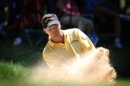 Brandt Jobe blasts from the sand near the 16th green during the third round of the Cialis Western Open July 2, 2005 in Lemont, Illinois.Photo by Al Messerschmidt/WireImage.com