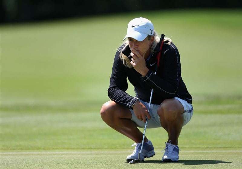 SPRINGFIELD, IL - JUNE 05:  Suzann Pettersen of Norway reviews the eighth hole green during the second round of the LPGA State Farm Classic golf tournament at Panther Creek Country Club on June 5, 2009 in Springfield, Illinois.  (Photo by Christian Petersen/Getty Images)