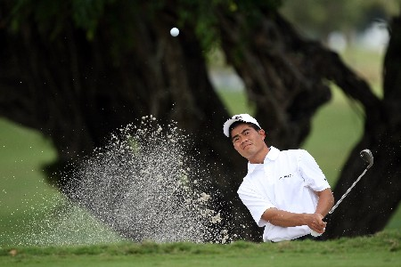 MIAMI - MARCH 19: Wen-chong Liang of China playing from a practice bunker during practice for the 2008 World Golf Championships CA Championship at the Doral Golf Resort & Spa, on March 19, 2008 in Miami, Florida.  (Photo by David Cannon/Getty Images)