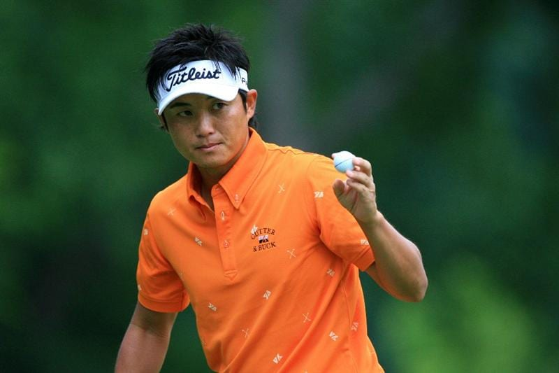 FT. WORTH, TX - MAY 19: Ryuji Imada of Japan waves to the gallery on the eighth green during the first round of the Crowne Plaza Invitational at Colonial Country Club on May 19, 2011 in Ft. Worth, Texas. (Photo by Hunter Martin/Getty Images)