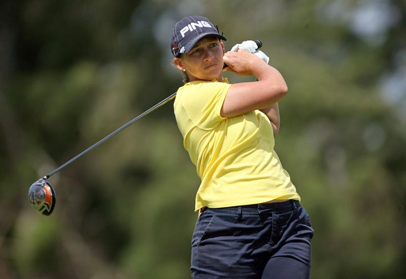 KAHUKU, HI - FEBRUARY 13:  Angela Stanford hits her tee shot on the 3rd hole during the second round of the SBS Open on February 13, 2009 at the Turtle Bay Resort in Kahuku, Hawaii.  (Photo by Andy Lyons/Getty Images)