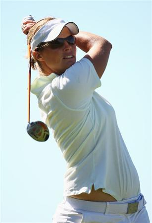 CHRISTCHURCH, NEW ZEALAND - JANUARY 31:  Julie Tvede of Denmark tees off on the second hole during day two of the New Zealand Women`s Open held at Clearwater Golf Course January 31, 2009 in Christchurch, New Zealand.  (Photo by Sandra Mu/Getty Images)