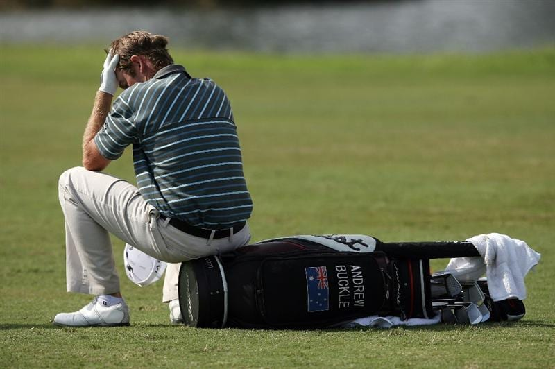 MIAMI - OCTOBER 18:  Andrew Buckle of Australia reacts after back to back bogeys during the final round of the 2009 Nationwide Tour Miccosukee Championship at the Miccosukee Golf & Country Club on October 18, 2009 in Miami, Florida.  (Photo by Doug Benc/Getty Images)