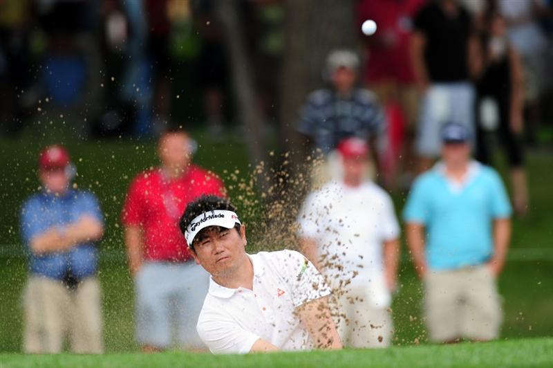 CHASKA, MN - AUGUST 16:  Y.E. Yang of South Korea plays a bunker shot on the 13th hole during the final round of the 91st PGA Championship at Hazeltine National Golf Club on August 16, 2009 in Chaska, Minnesota.  (Photo by Stuart Franklin/Getty Images)