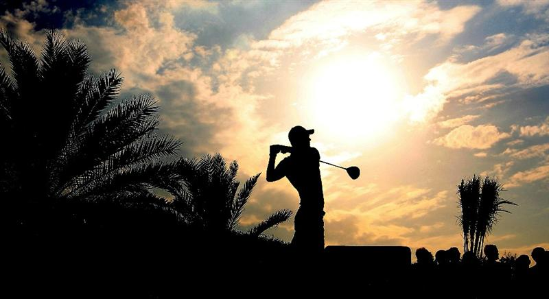 ABU DHABI, UNITED ARAB EMIRATES - JANUARY 23: Martin Kaymer of Germany on the 18th tee during the final round of the Abu Dhabi HSBC Golf Championship at the Abu Dhabi Golf Club on January 23, 2011 in Abu Dhabi, United Arab Emirates.  (Photo by Ross Kinnaird/Getty Images)