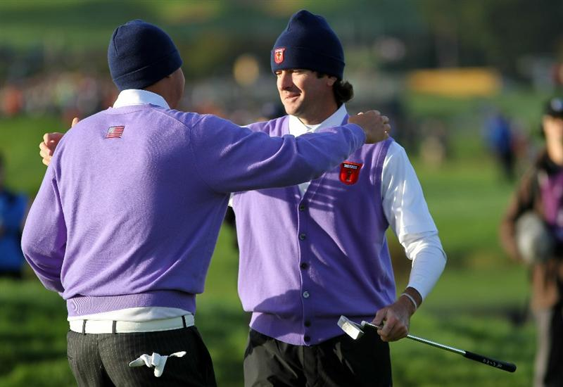 NEWPORT, WALES - OCTOBER 02:  Jeff Overton of the USA celebrates with team mate Bubba Watson (R) on the 11th green during the rescheduled Morning Fourball Matches during the 2010 Ryder Cup at the Celtic Manor Resort on October 2, 2010 in Newport, Wales.  (Photo by Jamie Squire/Getty Images)