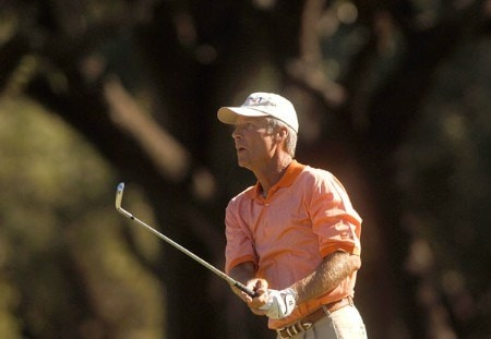 Ben Crenshaw follows the line of his fairway shot during the first round of the Champion's TOUR 2005 SBC Championship at Oak Hills Country Club in San Antonio, Texas October 21, 2005.Photo by Steve Grayson/WireImage.com