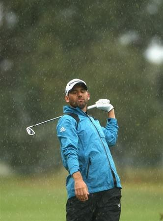 MELBOURNE, AUSTRALIA - NOVEMBER 13:  Sergio Garcia of Spain looks dejected after playing a shot during round three of the Australian Masters at The Victoria Golf Club on November 13, 2010 in Melbourne, Australia.  (Photo by Ryan Pierse/Getty Images)