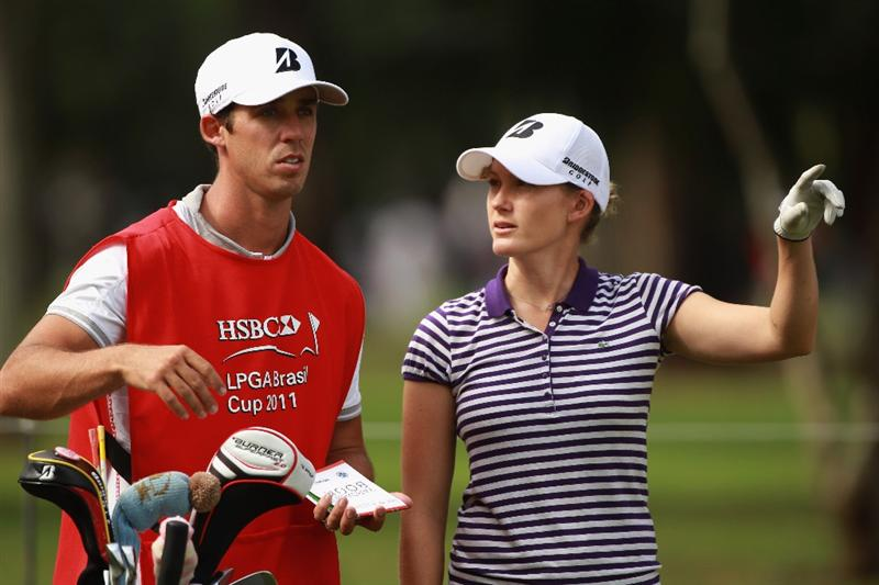 RIO DE JANEIRO, BRAZIL - MAY 28:  Sarah Jane Smith of Australia chats with her caddie on the 17th hole during the first round of the HSBC LPGA Brazil Cup at the Itanhanga Golf Club on May 28, 2011 in Rio de Janeiro, Brazil.  (Photo by Scott Halleran/Getty Images)