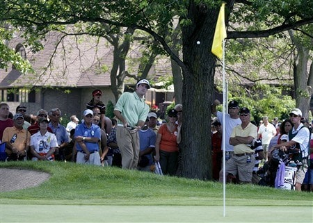 GRAND BLANC, MI - JUNE 28:  Bubba Watson chips to the ninth green during the third round of the Buick Open at Warwick Hills Golf and Country Club on June 28, 2008 in Grand Blanc, Michigan.  (Photo by Gregory Shamus/Getty Images)