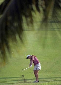 KAPOLEI, HI - FEBRUARY 22:  Brittany Lincicome hits her second shot on the 17th hole during the second round of  the Fields Open on February 22, 2008  at the Ko Olina Golf Club in Kapolei, Hawaii.  (Photo by Andy Lyons/Getty Images)