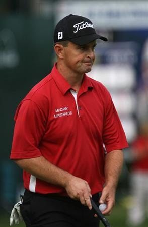 MILWAUKEE - JULY 18: Greg Chalmers of  Australia as he smiles on the 18th green during the third round of the U.S. Bank Championship on July 18, 2009 at the Brown Deer Park golf course in Milwaukee, Wisconsin. (Photo by Jonathan Daniel/Getty Images)