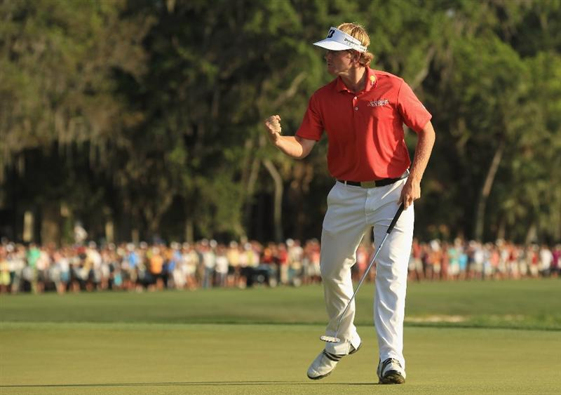 HILTON HEAD ISLAND, SC - APRIL 24:  Brandt Snedeker celebrates after making a birdie on the first playoff hole during the final round of The Heritage at Harbour Town Golf Links on April 24, 2011 in Hilton Head Island, South Carolina.  (Photo by Streeter Lecka/Getty Images)