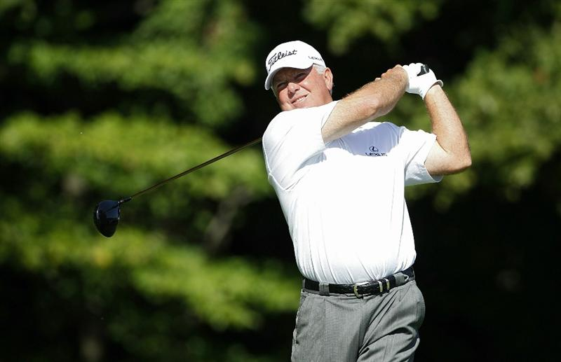 POTOMAC, MD - OCTOBER 10:  Mark O'Meara watches his drive on the eighth hole during the final round of the Constellation Energy Senior Players Championship held at TPC Potomac at Avenel Farm on October 10, 2010 in Potomac, Maryland.  (Photo by Michael Cohen/Getty Images)
