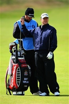 SOUTHPORT, UNITED KINGDOM - JULY 16:  Scott Verplank of the USA pulls a club as his caddie Scott Tway looks on during the third practice round of the 137th Open Championship on July 16, 2008 at Royal Birkdale Golf Club, Southport, England. (Photo by Andrew Redington/Getty Images)
