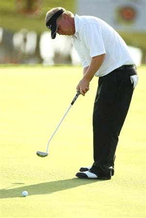 MADRID, SPAIN - OCTOBER 10:  Ross McGowan of England in action during the 3rd Round  of the Madrid Masters at Cantro Nacional De Golf on October 10, 2009 in Madrid, Spain.  (Photo by Ian Walton/Getty Images)