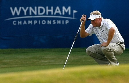 GREENSBORO, NC - AUGUST 16:  Carl Pettersson lines up a birdie putt on the 18th green during the third round of the 2008 Wyndham Championship at Sedgefield Country Club on August 16, 2008 in Greensboro, North Carolina.  (Photo by Kevin C. Cox/Getty Images)