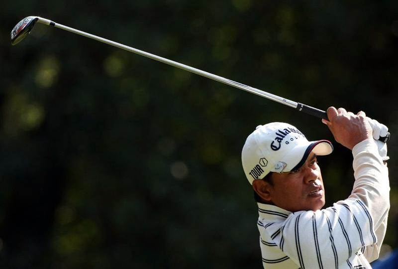 MIYAZAKI, JAPAN - NOVEMBER 21:  Prayad Marksaeng of Thailand tees off on the 13th hole during the second round of the Dunlop Phoenix Tournament 2008 at Phoenix Country Club on November 21, 2008 in Miyazaki, Japan.  (Photo by Koichi Kamoshida/Getty Images)