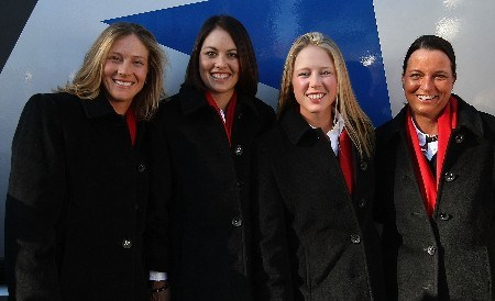 HALMSTAD, SWEDEN - SEPTEMBER 13:  Angela Stanford, Stacy Prammanasudh, Morgan Pressel and Sherri Steinhauer of the USA pose for a picture during the Opening Ceremony in the town square prior to the start of the Solheim Cup at on September 13, 2007 in Halmstad, Sweden.  (Photo by Scott Halleran/Getty Images)