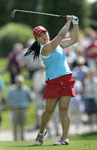 Jeong Jang follows her iron shot during the third round of The Michelob Ultra Open at Kingsmill Resort & Spa, Williamsburg, Virginia., May 13, 2006.Photo by Hunter Martin/WireImage.com
