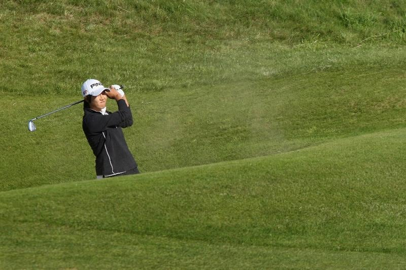 LYTHAM ST ANNES, ENGLAND - JULY 30:  Song-Hee Kim of Korea hits her third shot on the 15th hole during the first round of the 2009 Ricoh Women's British Open Championship held at Royal Lytham St Annes Golf Club, on July 30, 2009 in  Lytham St Annes, England.  (Photo by David Cannon/Getty Images)