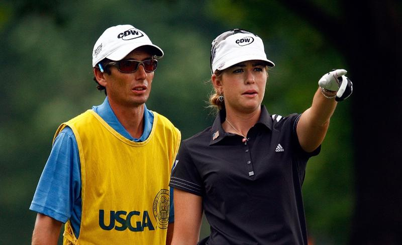 BETHLEHEM, PA - JULY 11:  Paula Creamer chats with her caddie Colin Cann on the fourth tee during the third round of the 2009 U.S. Women's Open at the Saucon Valley Country Club on July 11, 2009 in Bethlehem, Pennsylvania.  (Photo by Scott Halleran/Getty Images)