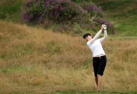 SUNNINGDALE, UNITED KINGDOM - JULY 31:  Shi Hyun Ahn of South Korea plays her 2nd shot at the 17th hole during the first round of the 2008  Ricoh Women's British Open Championship held on the Old Course at Sunningdale Golf Club, on July 31, 2008 in Sunningdale, England.  (Photo by David Cannon/Getty Images)