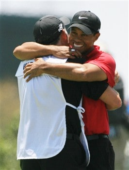 SAN DIEGO - JUNE 16:  Tiger Woods hugs his caddie Stave Williams after winning the playoff round of the 108th U.S. Open at the Torrey Pines Golf Course (South Course) on June 16, 2008 in San Diego, California.  (Photo by Travis Lindquist/Getty Images)