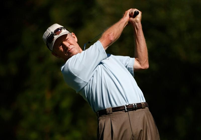 SUNRIVER, OR - AUGUST 22:  Mike Reid tees off on the 7th hole during the third round of the Jeld-Wen Tradition on August 22, 2009 at the Crosswater Club at Sunriver Resort in Sunriver, Oregon.  (Photo by Jonathan Ferrey/Getty Images)