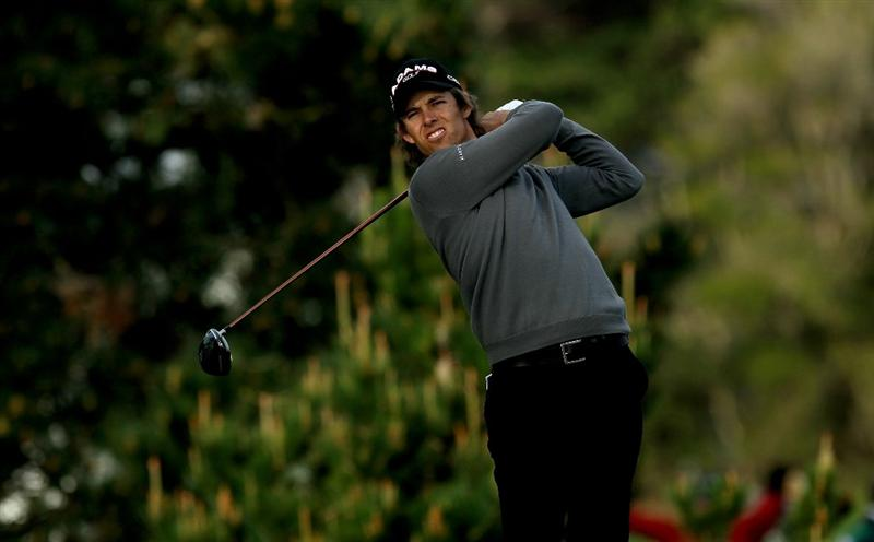 PEBBLE BEACH, CA - FEBRUARY 11:  Aaron Baddeley of Australia hits his tee shot on the second hole during the first round of the AT&T Pebble Beach National Pro-Am at Pebble Beach Golf Links on February 11, 2010 in Pebble Beach, California.  (Photo by Stephen Dunn/Getty Images)