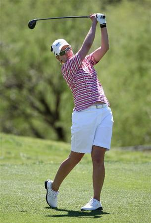 PHOENIX - MARCH 28:  Karrie Webb of Australia tees off on the seventh hole during the third round of the J Golf Phoenix LPGA International golf tournament at Papago Golf Course on March 28, 2009 in Phoenix, Arizona.  (Photo by Christian Petersen/Getty Images)