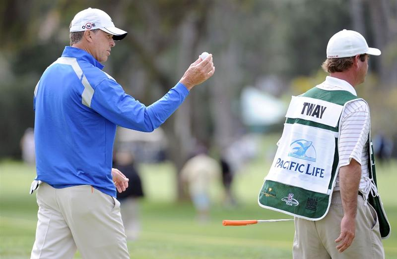 NEWPORT BEACH, CA - MARCH 05:  Bob Tway reacts to his putt as he leaves the 10th hole during the first round of the Toshiba Classic at the Newport Beach Country Club on March 5, 2010 in Newport Beach, California.  (Photo by Harry How/Getty Images)
