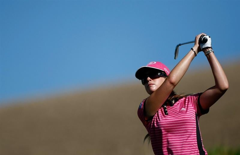 DANVILLE, CA - SEPTEMBER 24:  Paula Creamer tees off on the 16th hole during the first round of the CVS/pharmacy LPGA Challenge at Blackhawk Country Club on September 24, 2009 in Danville, California.  (Photo by Jonathan Ferrey/Getty Images)