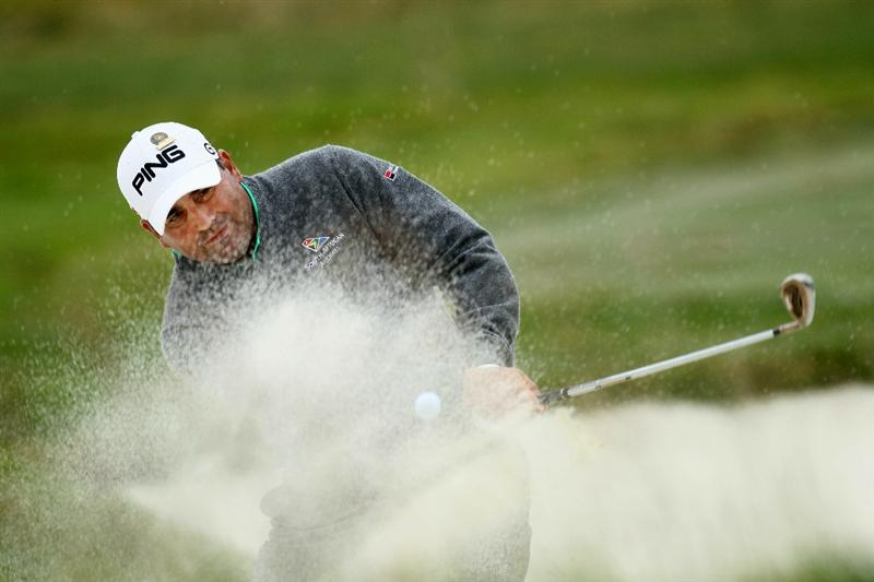 PEBBLE BEACH, CA - JUNE 18:  Angel Cabrera of Argentina play a shot from a bunker on the second hole during the second round of the 110th U.S. Open at Pebble Beach Golf Links on June 18, 2010 in Pebble Beach, California.  (Photo by Stephen Dunn/Getty Images)
