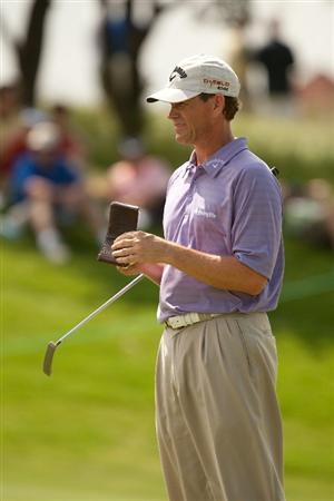 IRVING, TX - MAY 20: Lee Janzen consults his yardage book during the first round of the HP Byron Nelson Championship at TPC Four Seasons Resort Las Colinas on May 20, 2010 in Irving, Texas. (Photo by Darren Carroll/Getty Images)