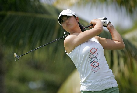 KAPOLEI, HI - FEBRUARY 22:  Michelle Wie hits her tee shot on the 2nd hole during the second round of  the Fields Open on February 22, 2008  at the Ko Olina Golf Club in Kapolei, Hawaii.  (Photo by Andy Lyons/Getty Images)