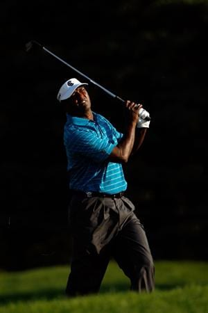 CHASKA, MN - AUGUST 14:  Vijay Singh of Fiji hits his second shot on the tenth hole during the second round of the 91st PGA Championship at Hazeltine National Golf Club on August 14, 2009 in Chaska, Minnesota.  (Photo by Streeter Lecka/Getty Images)